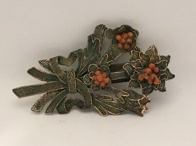 C. 1900 Chinese Export Gilded Coral Dress Scarf Clip Ornate Floral Bouquet Motif