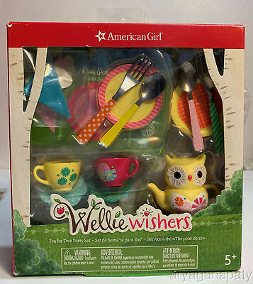 American Girl Wellie Wishers Doll 18 Piece Assessories Tea for Two Party Set NEW