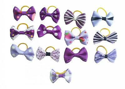 50Pcs Assorted Purple Pet Small Dog Cat Hair Bows W/Rubber Bands Puppy Grooming