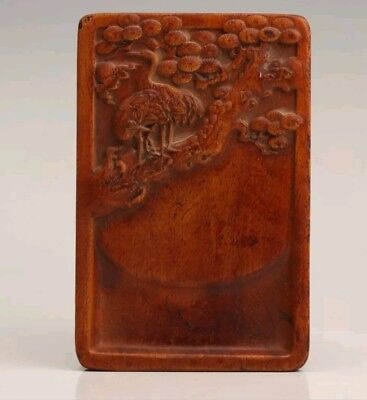 Old Chinese Hardwood Unique Hand-Carved Crane Inkstone Calligraphy Collection