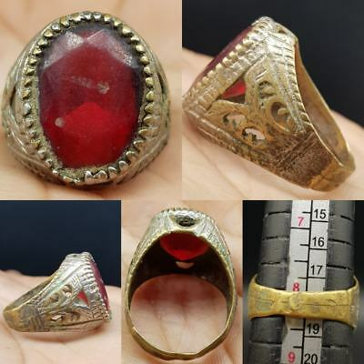Medieval Old Unique Ring with Old Glass   #8L