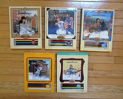 5 AMERICAN GIRL Art Studio Drawing Pads (Kaya,Julie,Molly,Kit & Samantha) used