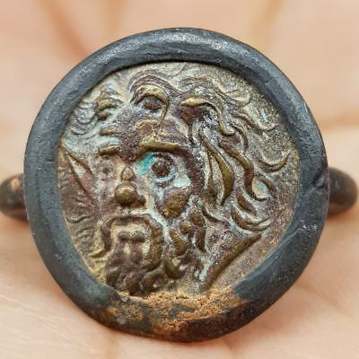 Beautiful Ring With Old Unique Rare Face Coin  #8L