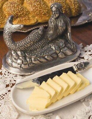 Victorian Trading Co NWT Mermaid Butter Dish Polished Nickel & Ceramic