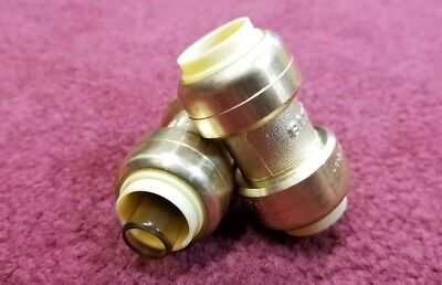 """(2) 1/2"""" SHARKBITE STYLE PUSH FIT COUPLINGS FITTINGS - LEAD FREE BRASS pack of 2"""
