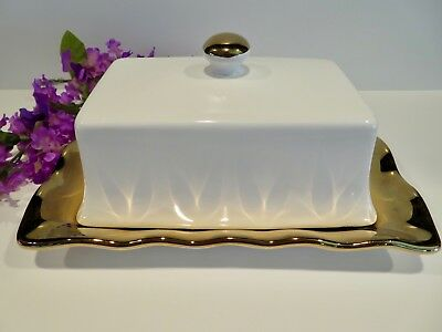 NEW WHITE  & GOLD BUTTER CHEESE  DISH w/ COVER BY 10 STRAWBERRY STREET 1/2LB