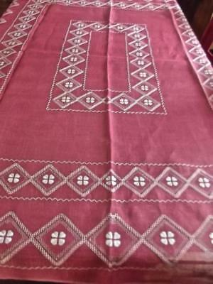 Antique Italian Linen Dusty Rose Boho Tablecloth FAB Geometric Embroidery EC