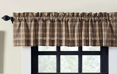 SAWYER MILL CHARCOAL Valance Plaid Tan/Khaki Country Farmhouse VHC Brands 16x60