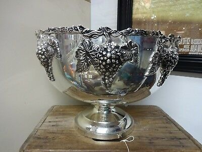 Silver Plate Heavy Ornate Punch Bowl