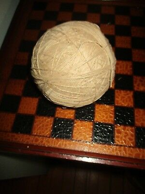 Antique / Vintage Old Ball of String Twine Primitive Tan Farm Find Craft AAFA