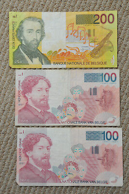 BELGIUM lot of 100 & 200 Francs Paper Money Currency Bill Note