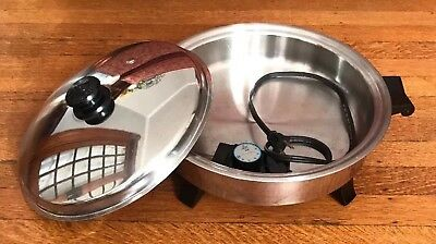 """Saladmaster Electric Skillet 12"""" Oil Core W/ Vapo Lid & Controller-7252 Made Usa"""