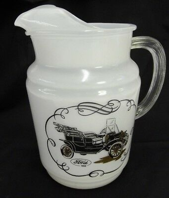 Ford 1908 Model T Large Milk Glass Water Pitcher Vintage Rare Tin Lizzie Leaping