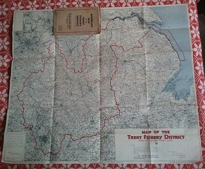 Rare Vintage Fishing Interest 1929 Boundary Map Trent Fishery District