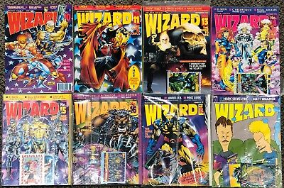 Wizard, The Guide to Comics - 8 assorted Issues 1992-1994, most factory sealed