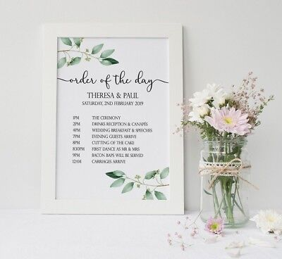 Personalised Botanical Green Leaves Wedding Order Of The Day