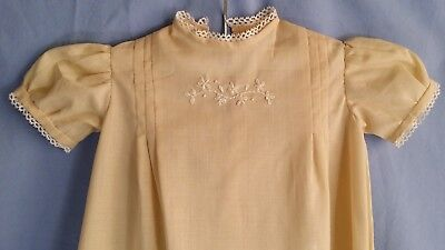 VINTAGE Baby Gown DRESS Taupe w/White LACE HANDMADE 12-18??