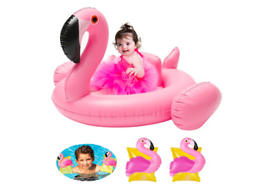 Baby Float Flamingo Inflatable Baby Pool Float Dual Swimming Ring Design