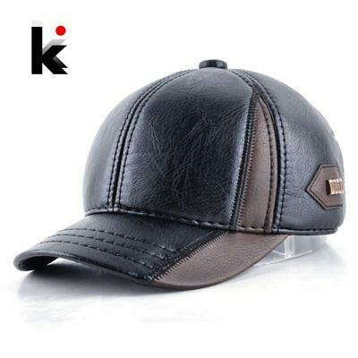 Mens winter leather cap warm patchwork dad hat baseball caps with ear flaps