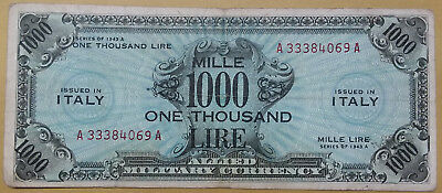 1943-A ITALY 1000 Lire WWII Allied Military Currency Antique ITALIAN Banknote