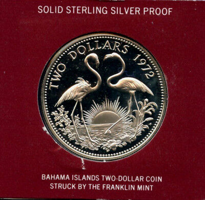 1972 Silver Bahama Islands Proof Two Dollar coin