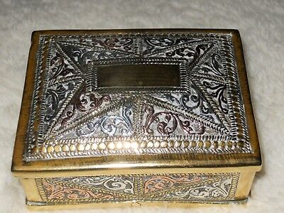 Vintage Brass And Decorated  Trinket Box