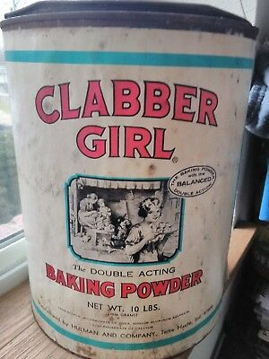 Vintage Clabber Girl Baking Powder Country Store Can Commercial 10 Lb. Large Tin