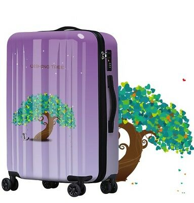E530 Universal Wheel Purple Wishing Tree Travel Suitcase Luggage 20 Inches W