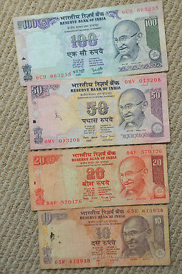 Reserve bank of INDIA 100 50 20 10 Lot of Paper Currency banknotes Gandhi