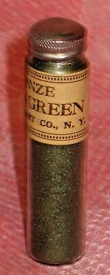 Vintage Unused Glass Vial Bronze Powder Olive Green Texstyle Art Co. NY