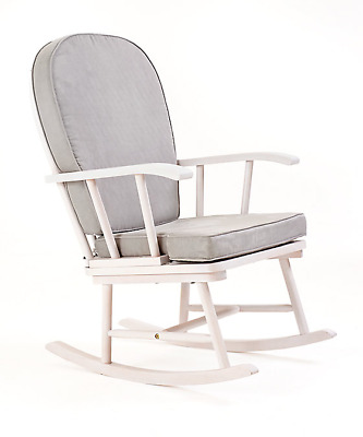Mothercare Rocking Chair with Grey Cushions and White Frame
