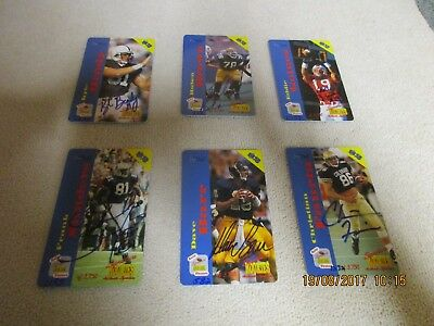 6 Football  Signature Rookie Autographed  Phone Cards