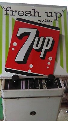 "vintage (""fresh up "" with 7-up) metal emboss 4-60 nice sign"
