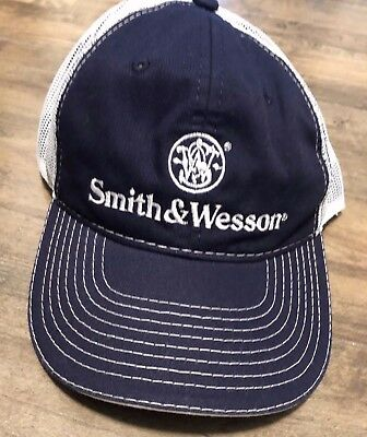 83ad47cec6d917 Smith & Wesson Navy Blue & White Mesh Trucker Logo Hat New snapback Adult