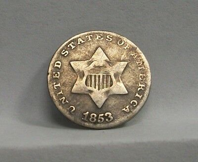 1853 Three Cent Silver VG - Very Good  3¢ Silver Variety 1