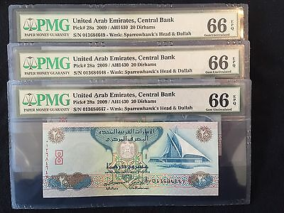 2009 Uae 20 Dirhams 3 Sequence Banknotes Pmg 66 Epq