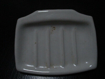 Vintage White Porcelain Wall Mount Soap Dish, with galvanized steel bracket