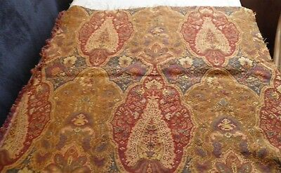 Fabric Tapestry Pillow Or Upholstery Square Red/gold Vintage Print 27X25 Inch