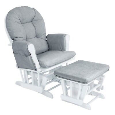 Babylo Milan Glider Chair and Footstool - White/Grey,baby nursing,feeding chair