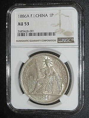 French Indo-china, 1886A, Silver Piastre, NGC AU-53