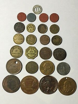Vintage Tokens - Lot Of 25 - Trade, Script, Apothecary, Store, Transit Etc...