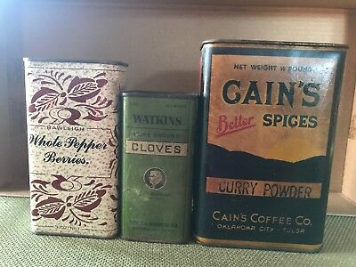 Lot Of 3 Vintage Or Antique Advertising Spice Tins