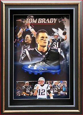 Tom Brady Autographed Signed Patriots Boot Nfl Authentic Framed With Coa