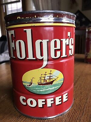 VINTAGE FOLGERS COFFEE CAN Key wind 2 lb Pound TIN Folger's Ships 1952