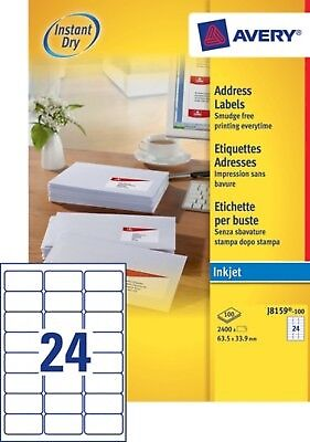2 400 étiquettes blanches - 63,5 x 33,9mm - NEUF