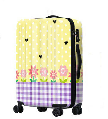 E662 Universal Wheel Polka Dot Purple Plaid Travel Suitcase Luggage 20 Inches W