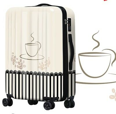 E108 Lock Universal Wheel Milk Coffee Travel Suitcase Cabin Luggage 24 Inches W