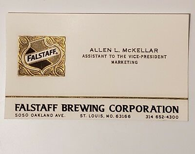 Historical Black Americana Pepsi Challenge Falstaff Business Card Allen Mckellar