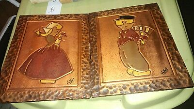 2 Vintage Valbe Copper on Wood Pictures (Windmill & Little Dutch Boy and Girl)