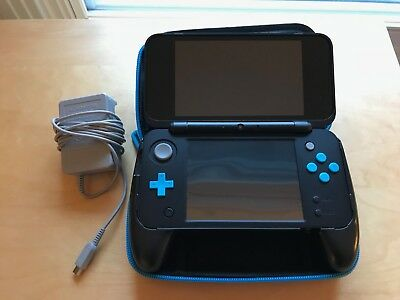 Nintendo 2DS XL Black/Turquoise Handheld System + Case + Styluses + AR Cards